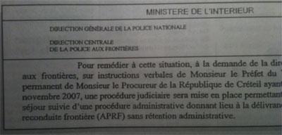 Document du ministère de l'Intérieur