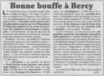 Bonne bouffe à Bercy - Canard enchaîné