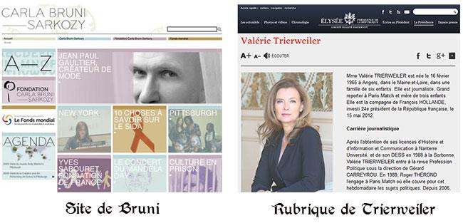 bruni trierweiler Le site web de Carla Bruni a coûté 410 000 euros à lÉtat
