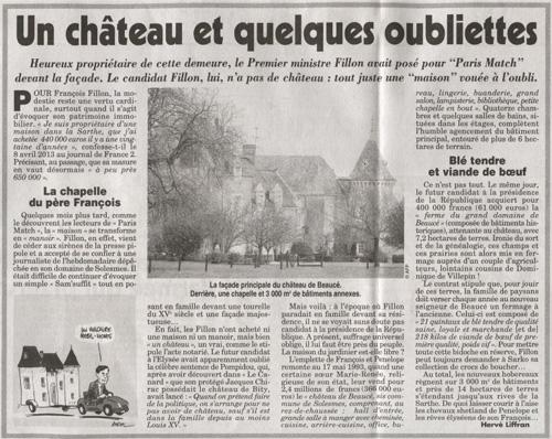 Château Fillon Canard enchaîné
