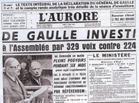 De Gaulle investi (journal l'Aurore)