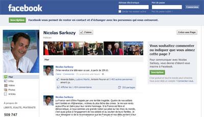 Facebook de Sarkozy