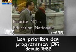 Programmes des candidats PS depuis 1988