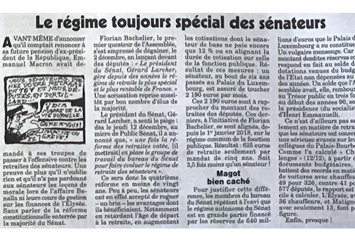 Régime spécial des sénateurs
