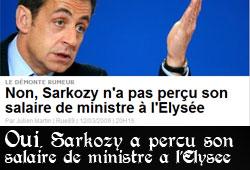 Sarkozy, salaire de ministre à l'Elysée