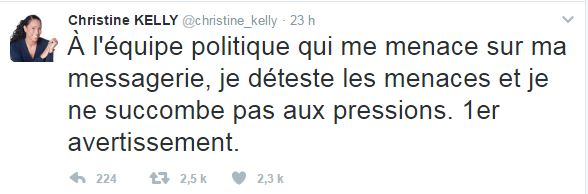 Twitter menaces Kelly Fillon
