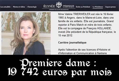 Le cabinet de Valérie Trierweiler coûte 19 742 euros par mois à l'Etat